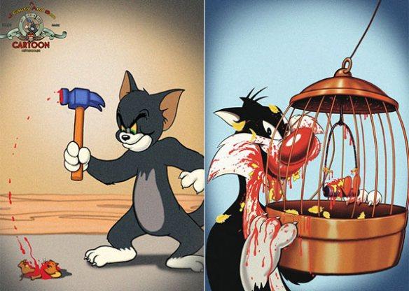 O Tom martelando o Jerry e o Frajola comendo o Piu-Piu.