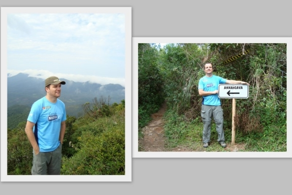 Em dois momentos: no cume e depois no final da trilha.