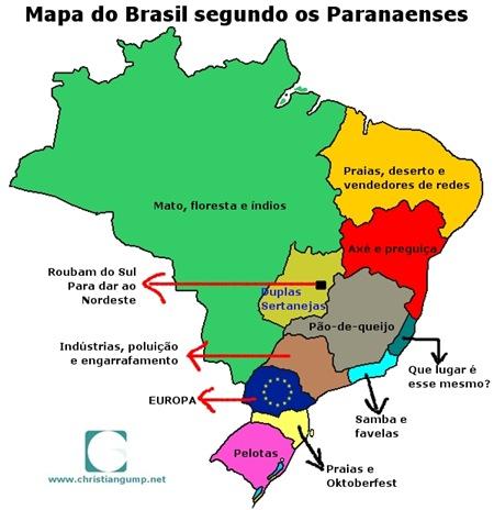 O Mapa do Brasil segundo os paranaenses.