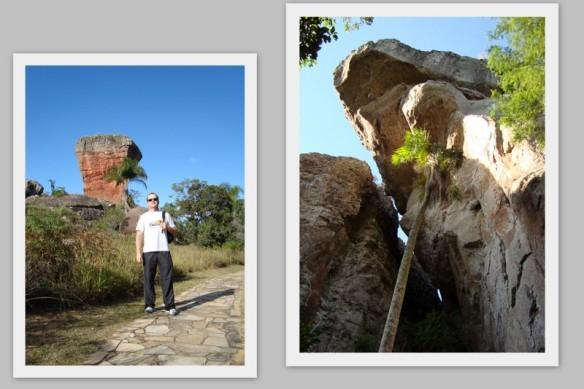 Vander andando pela trilha e uma das rochas que ficam no mato.