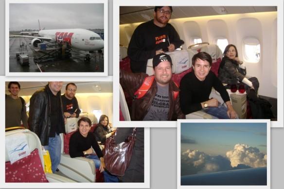 No avião, tietagem com o Xororó. (25/05/2009)