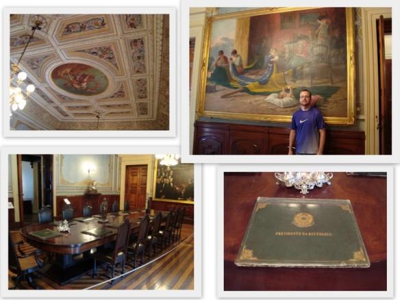 """Sala de reunião do Presidente com o Ministério e eu em frente o quadro """"A Pátria"""". (13/05/2009)"""