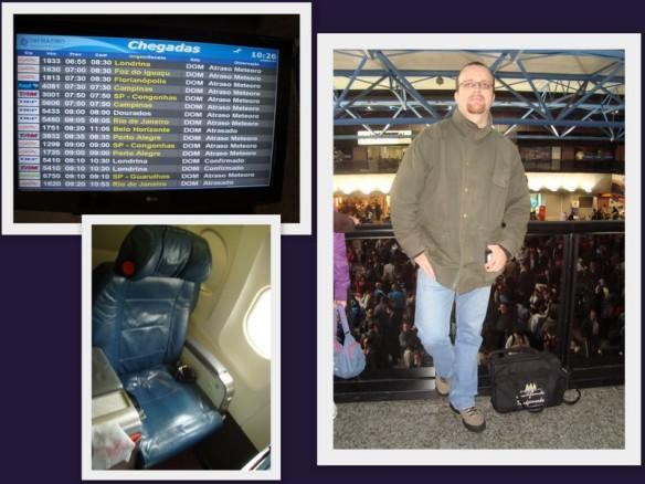 Painel com vôos cancelados e poltrona da classe executiva. (13/10/2009)