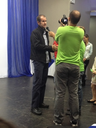 Entrevista após a palestra.