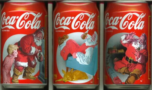 Papai Noel nas latas de Coca-Cola.