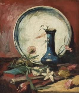 Natureza-Morta com Prato, Vaso e Flores (1884-1885).
